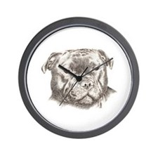 Funny Staffordshire dog Wall Clock