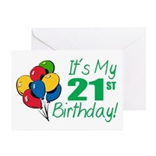 It's My 21st Birthday (Balloons) Greeting Card