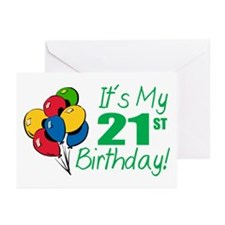 It's My 21st Birthday (Balloons) Greeting Cards (P