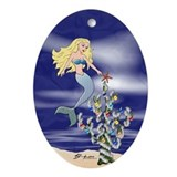 Mermaid Star Christmas Oval Ornament