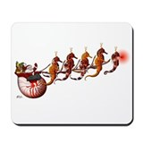 santa Claus and Seahorse Sleigh Mousepad