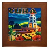Cuba Vintage Travel Art Framed Tile
