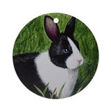Black and White Bunny Ornament (Round)
