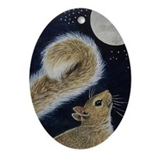 Squirrel Christmas Oval Ornament