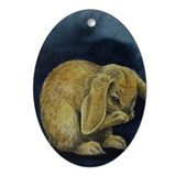 Cute Lop Eared Bunny Ornament (Oval)