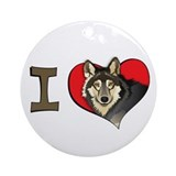 I heart wolves Ornament (Round)