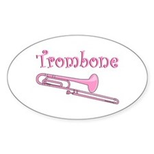 Pink Trombone Oval Decal