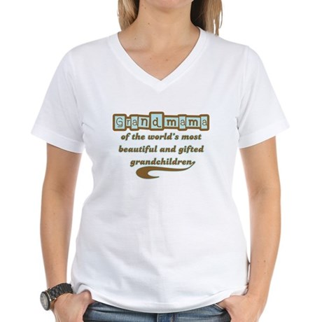 Grandmama of Gifted Grandchildren Women's V-Neck T