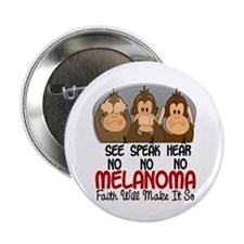 "See Speak Hear No Melanoma 1 2.25"" Button (10 pack"