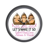 See Speak Hear No Breast Cancer 2 Wall Clock