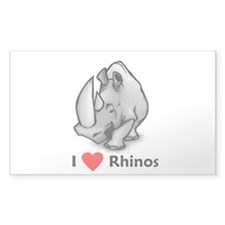 I Love Rhinos Rectangle Decal