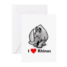 I Love Rhinos Greeting Cards (Pk of 10)