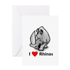 I Love Rhinos Greeting Card