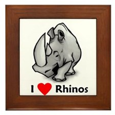 I Love Rhinos Framed Tile