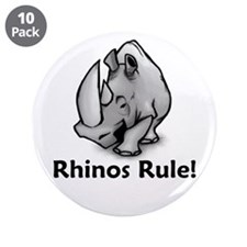 "Rhinos Rule! 3.5"" Button (10 pack)"