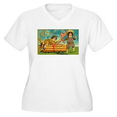 Kids Thanksgiving Women's Plus Size V-Neck T-Shirt
