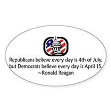Republicans vs. Democrats Oval Decal