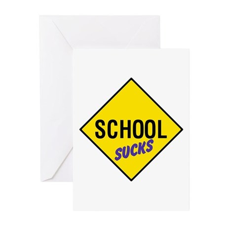 School Sucks Sign Greeting Cards (Pk of 10)