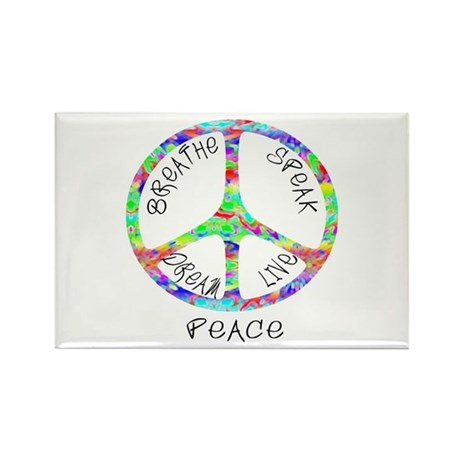 Live Peace Rectangle Magnet