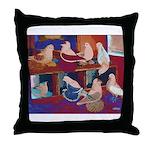 Impressionist Swallows Throw Pillow