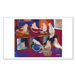 Impressionist Swallows Rectangle Sticker 10 pk)