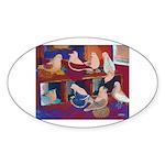 Impressionist Swallows Oval Sticker (10 pk)