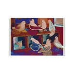 Impressionist Swallows Rectangle Magnet (10 pack)