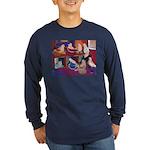Impressionist Swallows Long Sleeve Dark T-Shirt