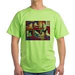 Impressionist Swallows Green T-Shirt