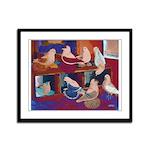 Impressionist Swallows Framed Panel Print