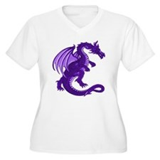Purple Dragon Plus V-Neck Tee (White)