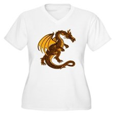 Gold Dragon Plus V-Neck Tee (White)