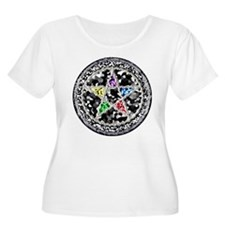 Crystal Pentacle Plus Scoop Neck Tee (White)