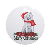 Poinsettia Husky Christmas Ornament (Round)