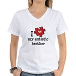 I Love My Autistic Brother Women's V-Neck T-Shirt