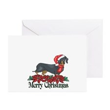 Poinsettia Dachshund Greeting Cards (Pk of 10)