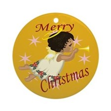 Flying Black Angel Christmas Ornament (Round)