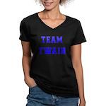 Team Twain Women's V-Neck Dark T-Shirt