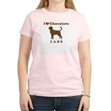 I Love Chocolate Labs Women's Pink T-Shirt