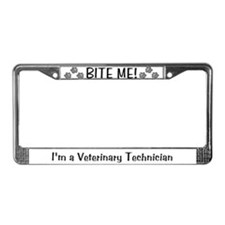 License Plate Frame - BITE ME! design (grey)