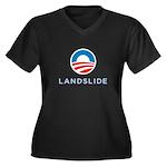 Obama Landslide Women's Plus Size V-Neck blac T-Sh