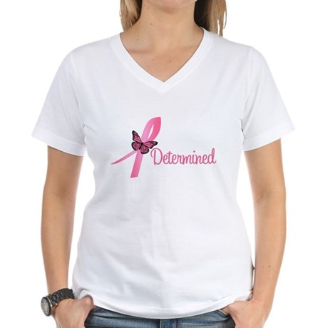 Breast Cancer (Determined) Women's V-Neck T-Shirt