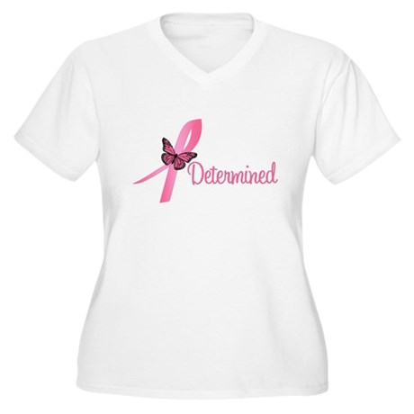 Breast Cancer (Determined) Women's Plus Size V-Nec