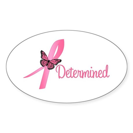 Breast Cancer (Determined) Oval Sticker (10 pk)