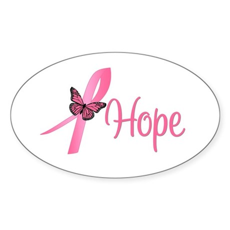 Breast Cancer Hope Oval Sticker (10 pk)