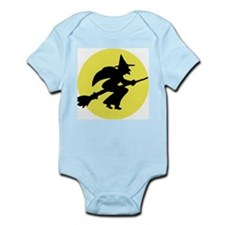 Kids Witch and Moon Halloween Infant Creeper