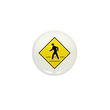 Pedestrian Crosswalk Sign - Mini Button (10 pack)