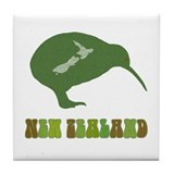 Green New Zealand Kiwi Large Tile Coaster