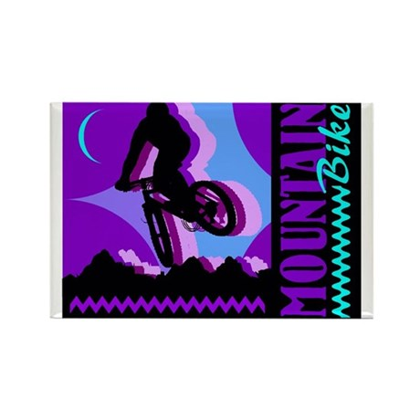 Mountain Bicycle Biking Rectangle Magnet