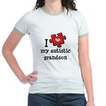 I Love My Autistic Grandson Jr. Ringer T-Shirt